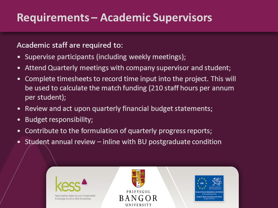 Requirements – Academic Supervisors Academic staff are required to: Supervise participants (including weekly meetings); Attend Quarterly meetings with company supervisor and student; Complete timesheets to record time input into the project.
