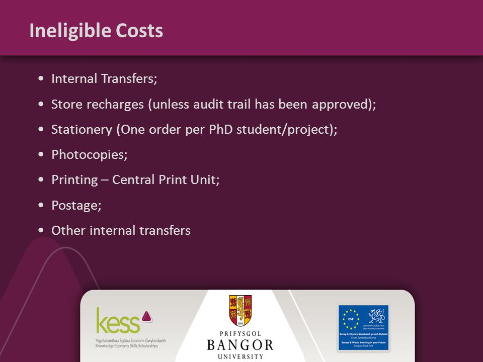 Ineligible Costs Internal Transfers; Store recharges (unless audit trail has been approved); Stationery (One order per PhD student/project); Photocopies; Printing – Central Print Unit; Postage; Other internal transfers