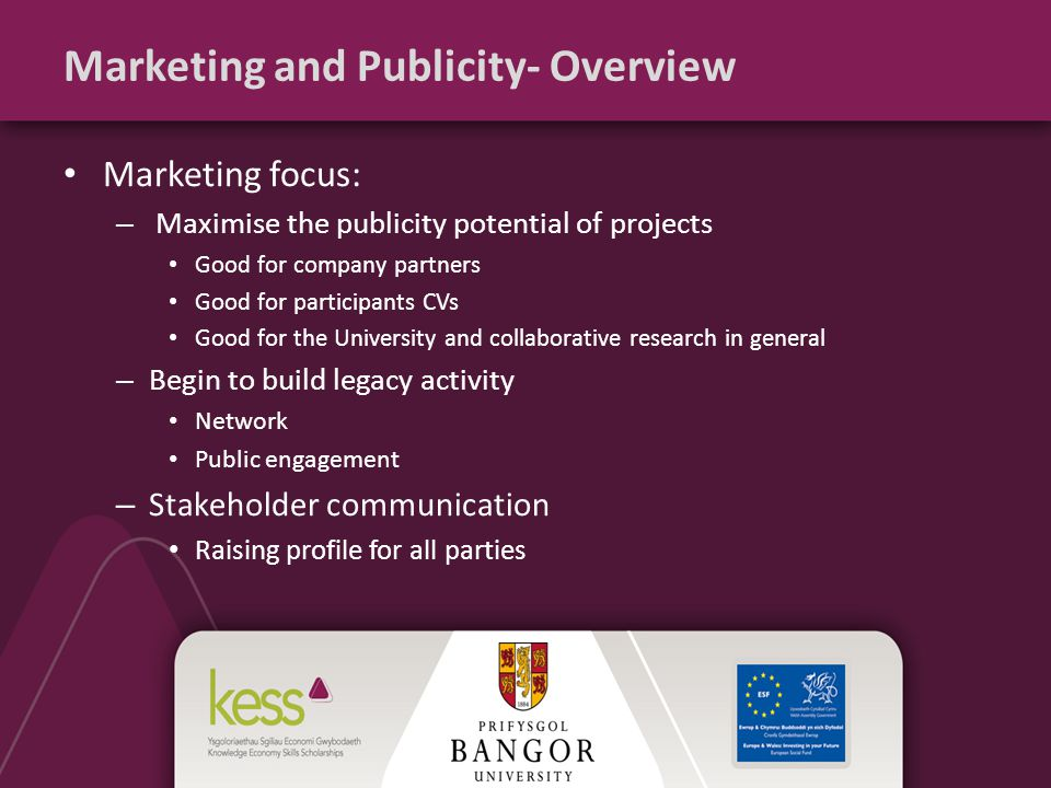 Marketing and Publicity- Overview Marketing focus: – Maximise the publicity potential of projects Good for company partners Good for participants CVs Good for the University and collaborative research in general – Begin to build legacy activity Network Public engagement – Stakeholder communication Raising profile for all parties