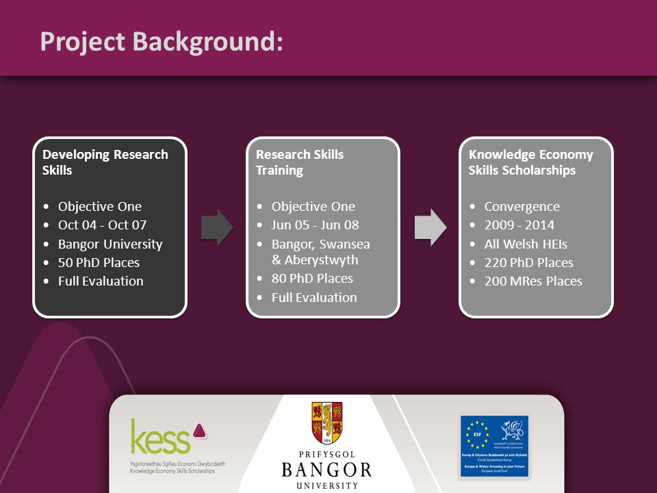 Project Background: Developing Research Skills Objective One Oct 04 - Oct 07 Bangor University 50 PhD Places Full Evaluation Research Skills Training Objective One Jun 05 - Jun 08 Bangor, Swansea & Aberystwyth 80 PhD Places Full Evaluation Knowledge Economy Skills Scholarships Convergence 2009 - 2014 All Welsh HEIs 220 PhD Places 200 MRes Places