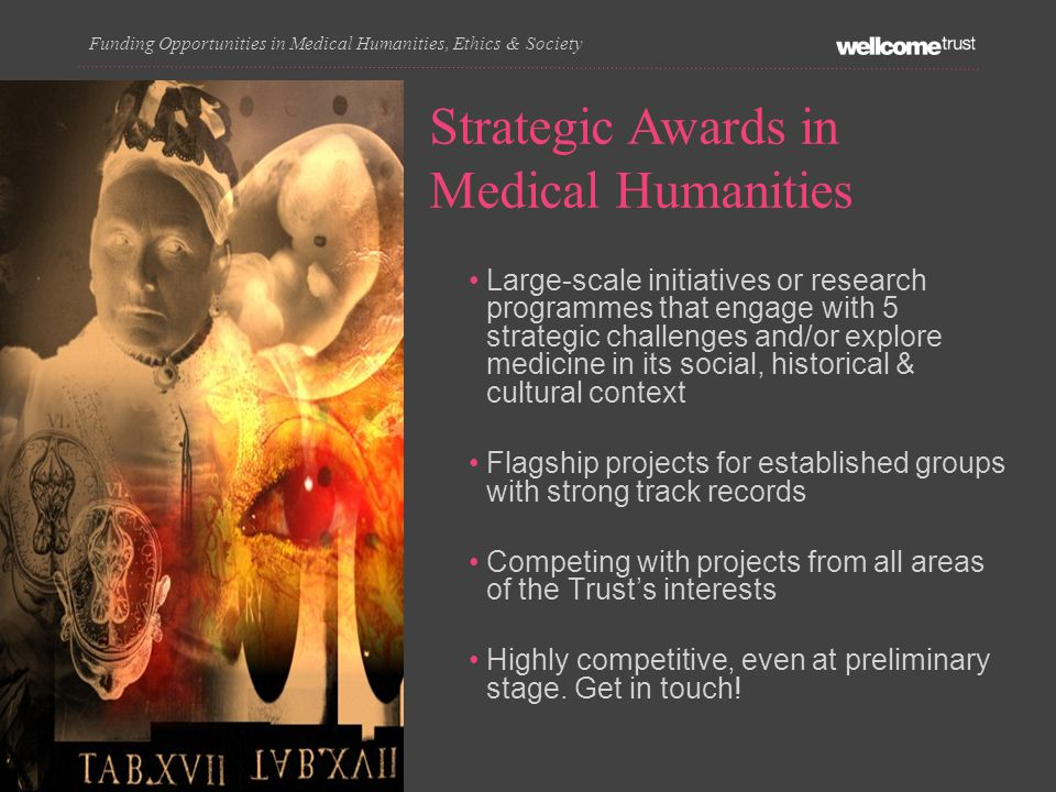 Strategic Awards in Medical Humanities Funding Opportunities in Medical Humanities, Ethics & Society Large-scale initiatives or research programmes that engage with 5 strategic challenges and/or explore medicine in its social, historical & cultural context Flagship projects for established groups with strong track records Competing with projects from all areas of the Trust's interests Highly competitive, even at preliminary stage.