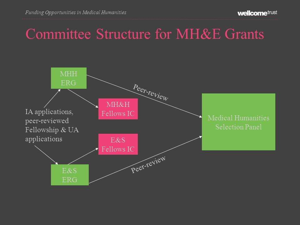 Committee Structure for MH&E Grants MHH ERG E&S ERG MH&H Fellows IC E&S Fellows IC Medical Humanities Selection Panel IA applications, peer-reviewed Fellowship & UA applications Funding Opportunities in Medical Humanities Peer-review