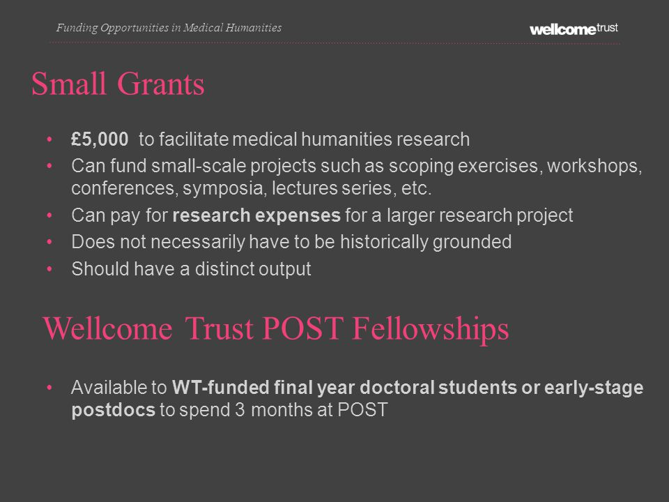 £5,000 to facilitate medical humanities research Can fund small-scale projects such as scoping exercises, workshops, conferences, symposia, lectures series, etc.