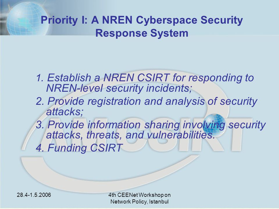 28.4-1.5.20064th CEENet Workshop on Network Policy, Istanbul Priority I: A NREN Cyberspace Security Response System 1.
