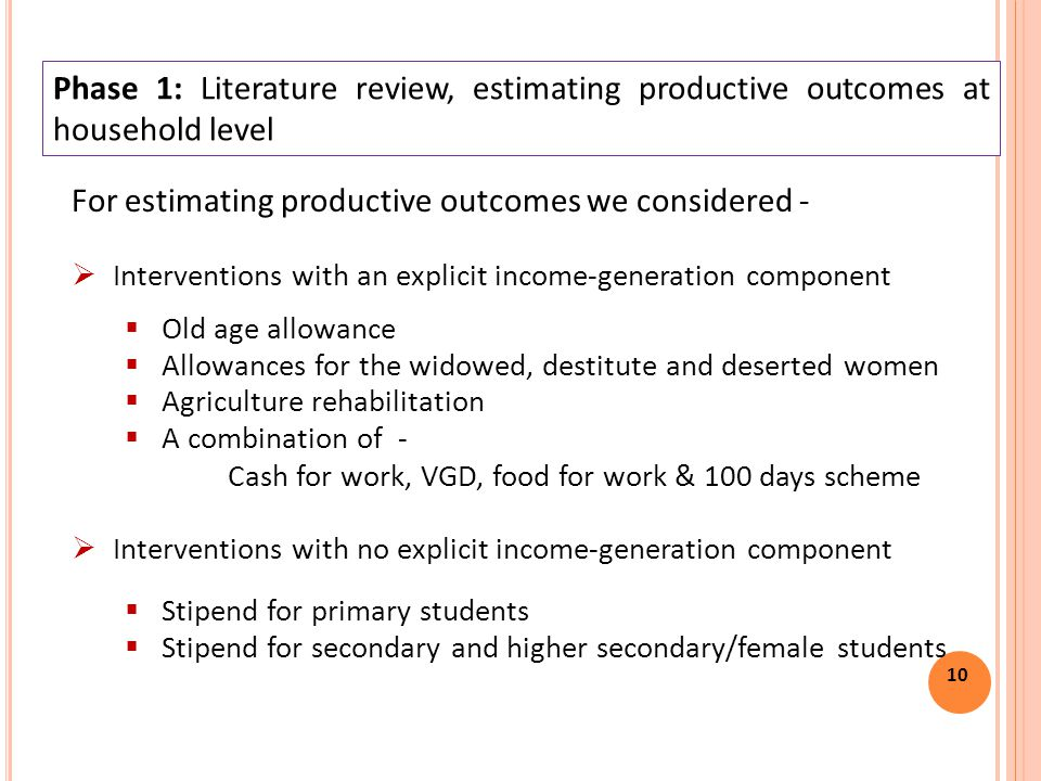 10 For estimating productive outcomes we considered -  Interventions with an explicit income-generation component  Old age allowance  Allowances for the widowed, destitute and deserted women  Agriculture rehabilitation  A combination of - Cash for work, VGD, food for work & 100 days scheme  Interventions with no explicit income-generation component  Stipend for primary students  Stipend for secondary and higher secondary/female students Phase 1: Literature review, estimating productive outcomes at household level