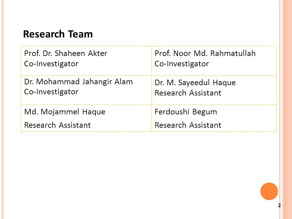 2 Research Team Prof. Dr. Shaheen Akter Co-Investigator Prof.