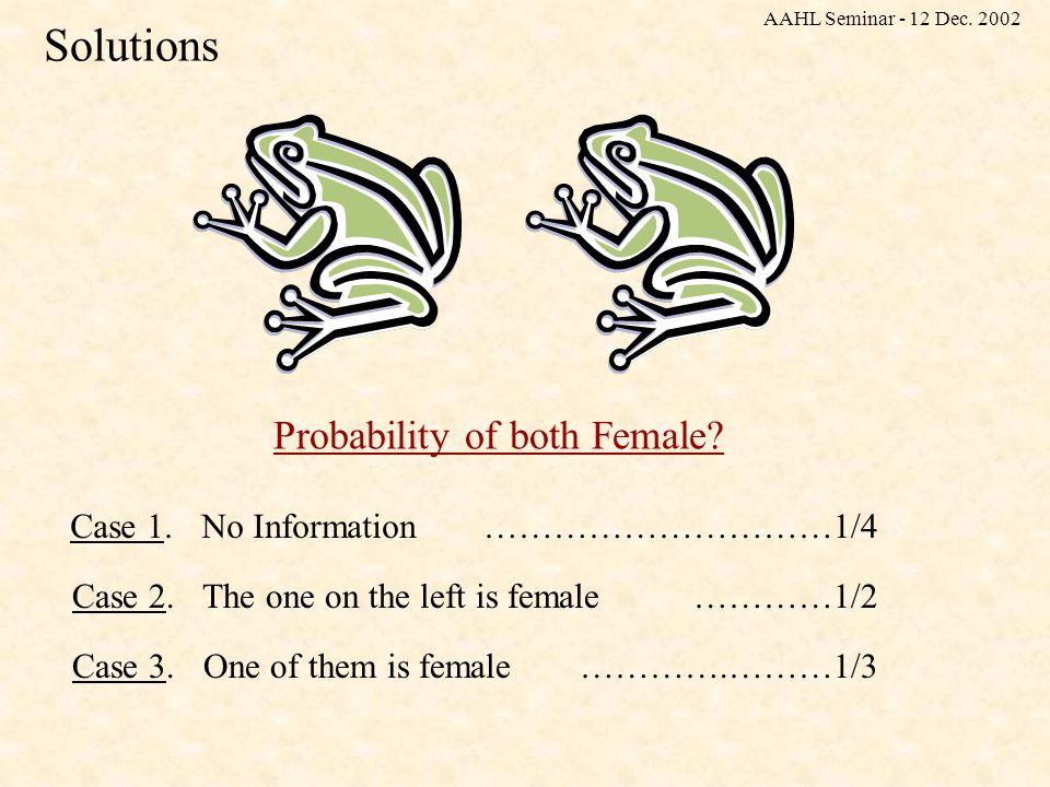 Solutions Probability of both Female. Case 1. No Information…………………………1/4 Case 2.