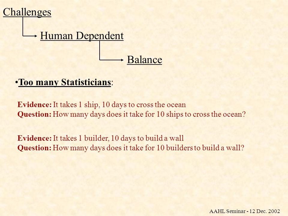 Human Dependent Challenges Balance Too many Statisticians: Evidence: It takes 1 ship, 10 days to cross the ocean Question: How many days does it take for 10 ships to cross the ocean.