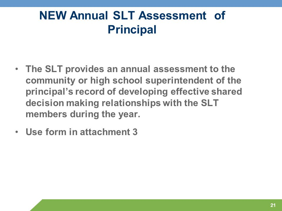NEW Annual SLT Assessment of Principal The SLT provides an annual assessment to the community or high school superintendent of the principal's record of developing effective shared decision making relationships with the SLT members during the year.
