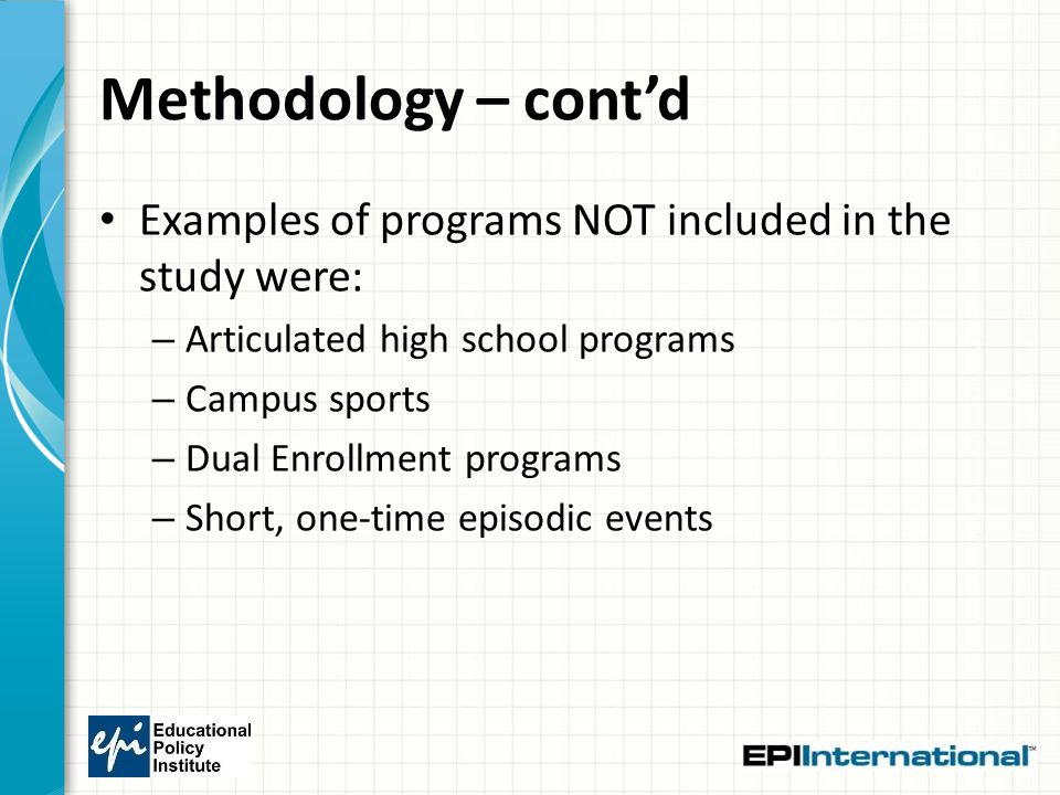 Methodology – cont'd Examples of programs NOT included in the study were: – Articulated high school programs – Campus sports – Dual Enrollment program