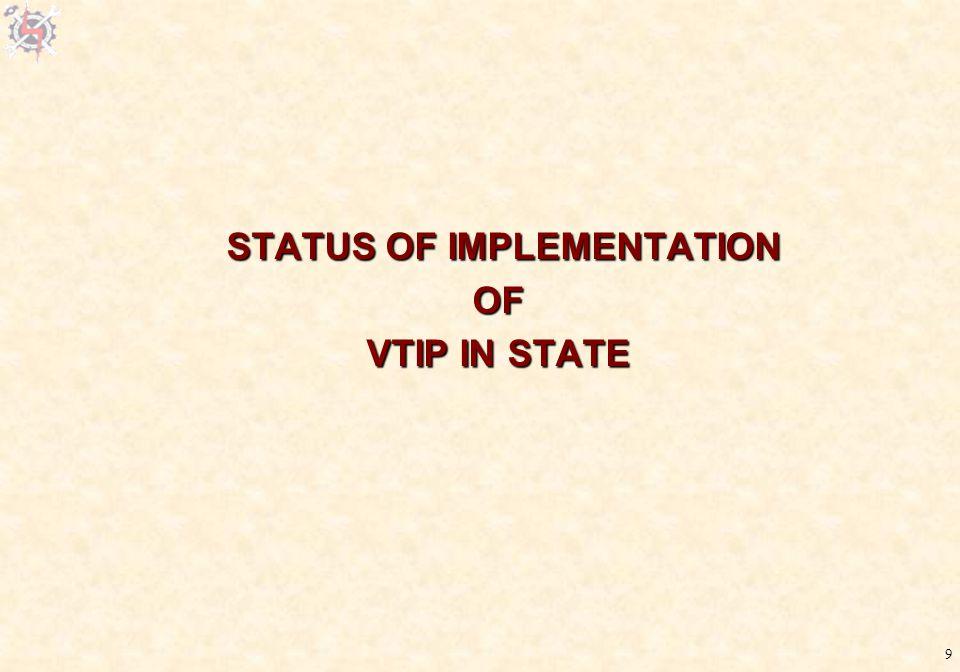 9 STATUS OF IMPLEMENTATION STATUS OF IMPLEMENTATIONOF VTIP IN STATE