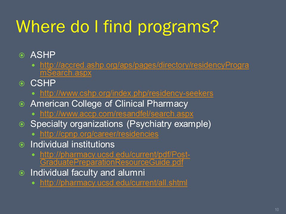 Where do I find programs?  ASHP http://accred.ashp.org/aps/pages/directory/residencyProgra mSearch.aspx http://accred.ashp.org/aps/pages/directory/re