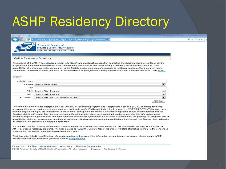 ASHP Residency Directory 11