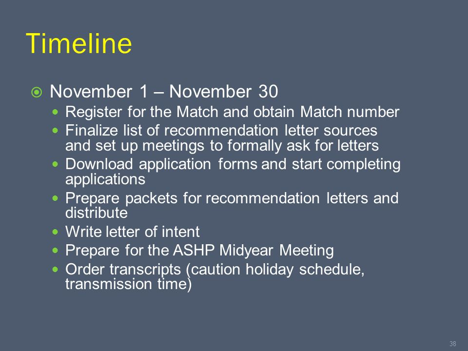 Timeline  November 1 – November 30 Register for the Match and obtain Match number Finalize list of recommendation letter sources and set up meetings to formally ask for letters Download application forms and start completing applications Prepare packets for recommendation letters and distribute Write letter of intent Prepare for the ASHP Midyear Meeting Order transcripts (caution holiday schedule, transmission time) 38