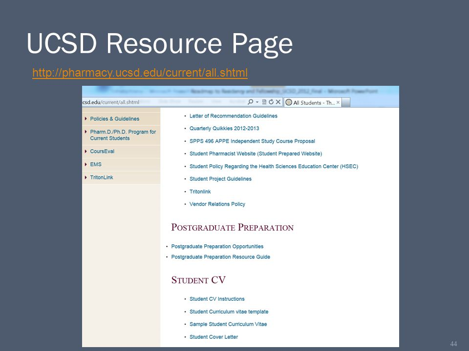 UCSD Resource Page 44 http://pharmacy.ucsd.edu/current/all.shtml