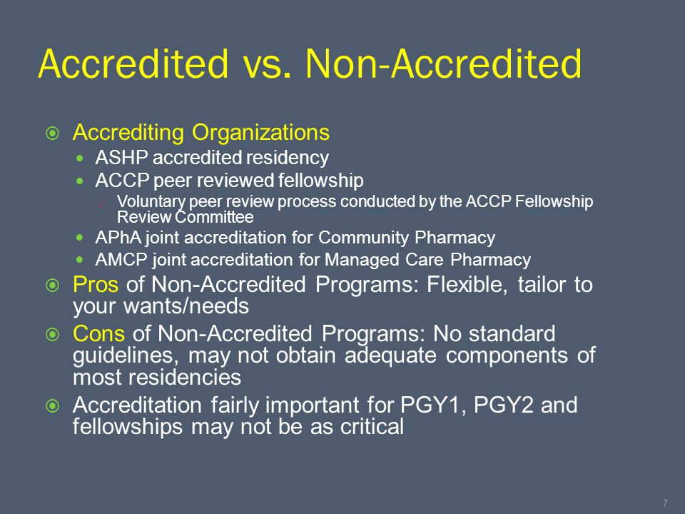 Accredited vs.