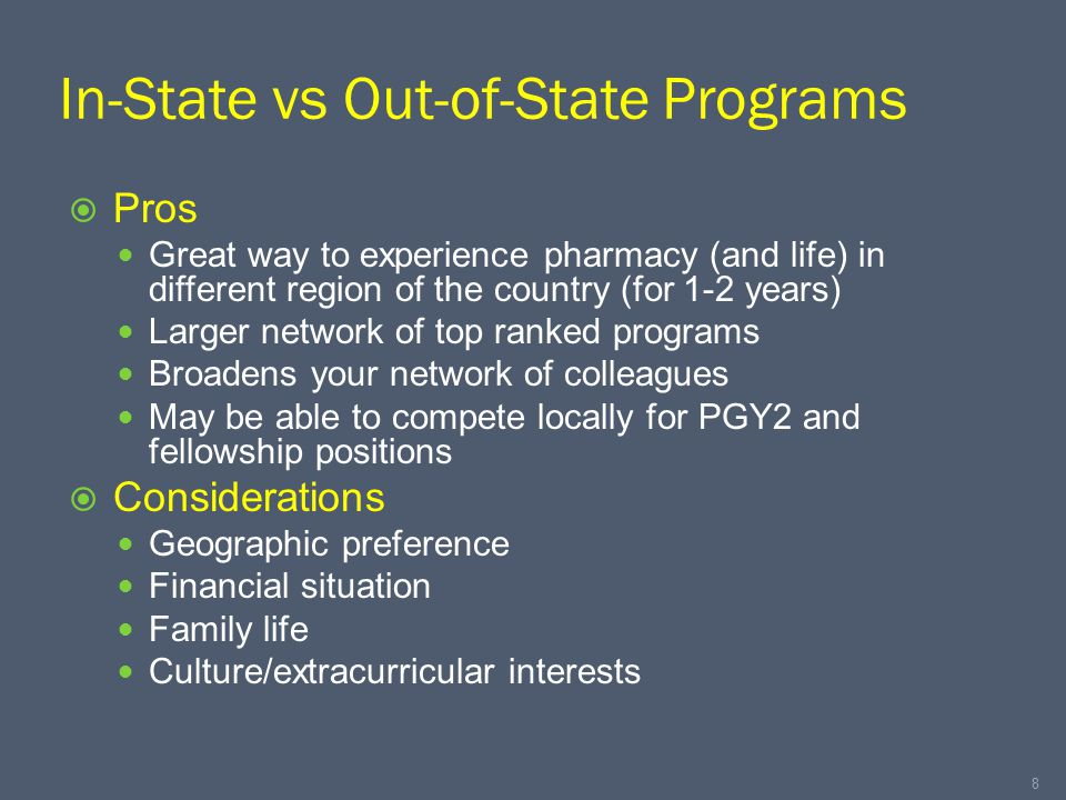 In-State vs Out-of-State Programs  Pros Great way to experience pharmacy (and life) in different region of the country (for 1-2 years) Larger network of top ranked programs Broadens your network of colleagues May be able to compete locally for PGY2 and fellowship positions  Considerations Geographic preference Financial situation Family life Culture/extracurricular interests 8