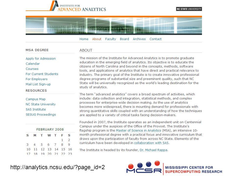 SAS Institute for Advanced Analytics http://analytics.ncsu.edu/?page_id=2