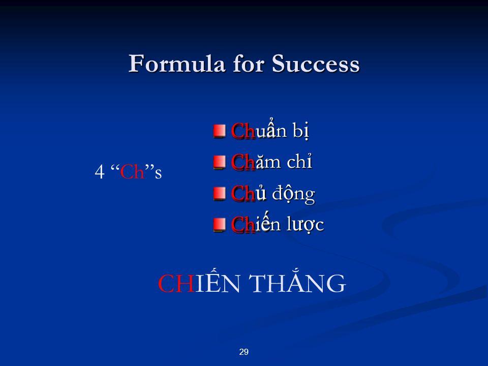 Formula for Success Ch Ch 29 4 Ch s CHI Ế N TH Ắ NG Chu ẩ Chă Ch ủ Chi ế Chu ẩ n b ị Chăm ch ỉ Ch ủ đ ộ ng Chi ế n l ượ c