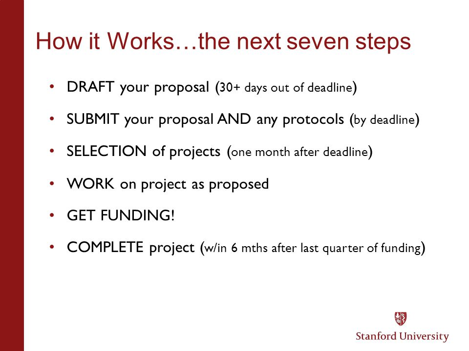 How it Works…the next seven steps DRAFT your proposal ( 30+ days out of deadline ) SUBMIT your proposal AND any protocols ( by deadline ) SELECTION of
