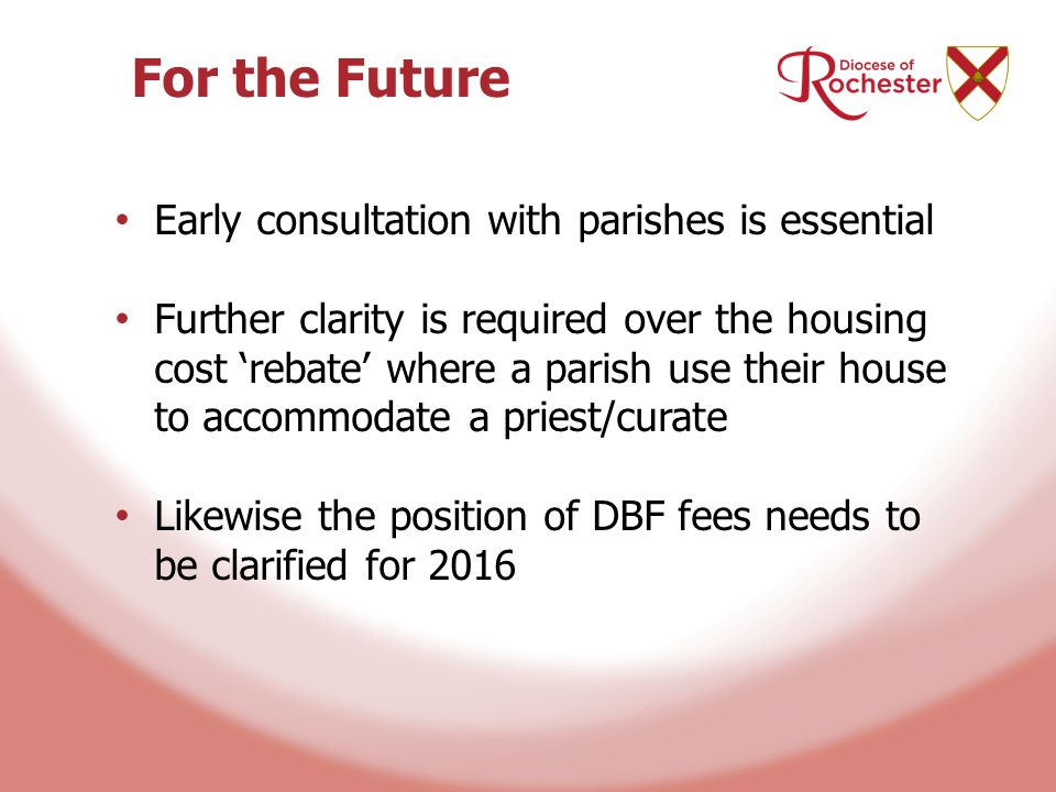 For the Future Early consultation with parishes is essential Further clarity is required over the housing cost 'rebate' where a parish use their house