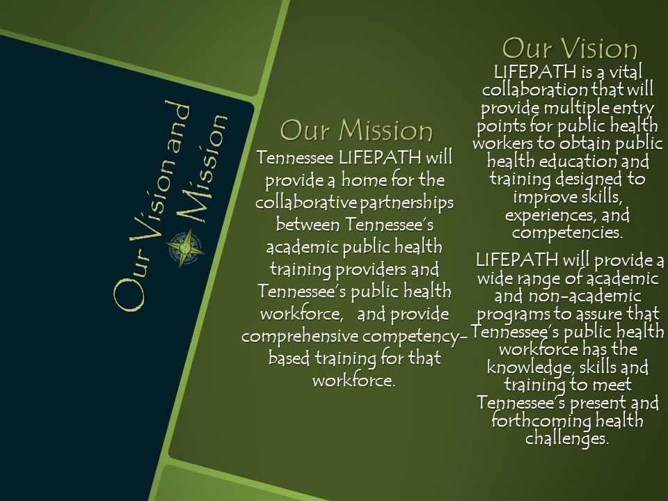 Our Vision and Mission Our Mission Tennessee LIFEPATH will provide a home for the collaborative partnerships between Tennessee's academic public healt