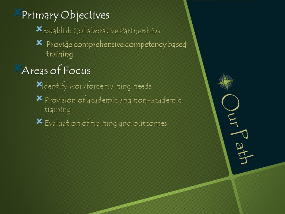 Our Path  Primary Objectives  Establish Collaborative Partnerships  Provide comprehensive competency based training  Areas of Focus  Identify wor