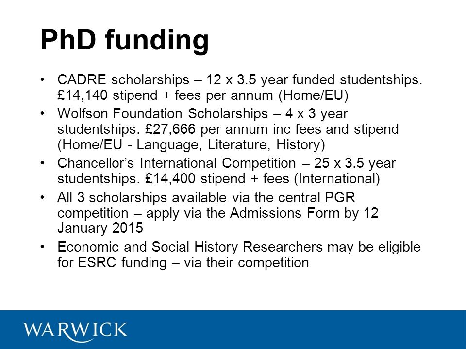 PhD funding CADRE scholarships – 12 x 3.5 year funded studentships.