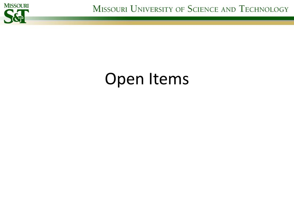 Open Items