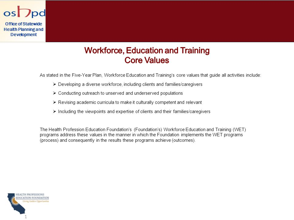 As stated in the Five-Year Plan, Workforce Education and Training's core values that guide all activities include:  Developing a diverse workforce, including clients and families/caregivers  Conducting outreach to unserved and underserved populations  Revising academic curricula to make it culturally competent and relevant  Including the viewpoints and expertise of clients and their families/caregivers The Health Profession Education Foundation's (Foundation's) Workforce Education and Training (WET) programs address these values in the manner in which the Foundation implements the WET programs (process) and consequently in the results these programs achieve (outcomes).