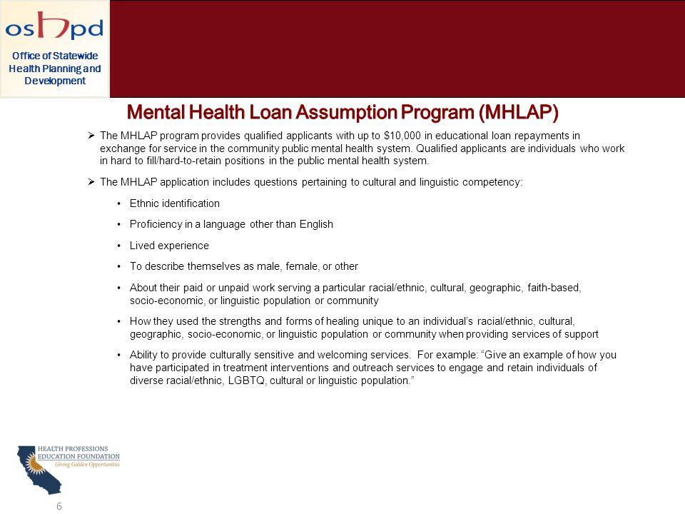  The MHLAP program provides qualified applicants with up to $10,000 in educational loan repayments in exchange for service in the community public mental health system.