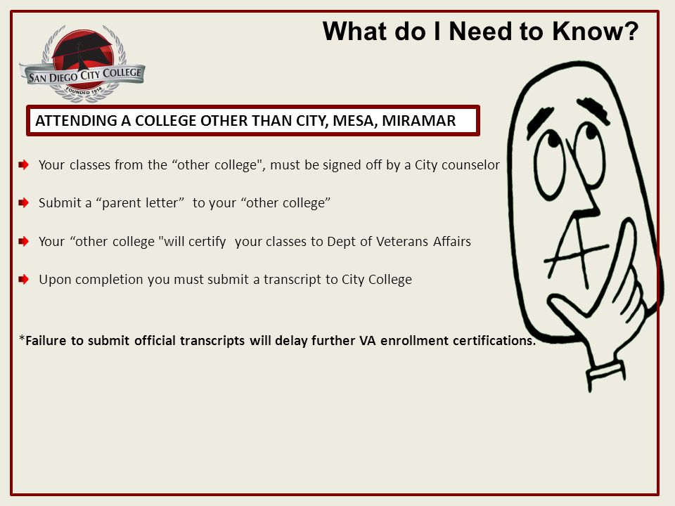 ATTENDING A COLLEGE OTHER THAN CITY, MESA, MIRAMAR What do I Need to Know.