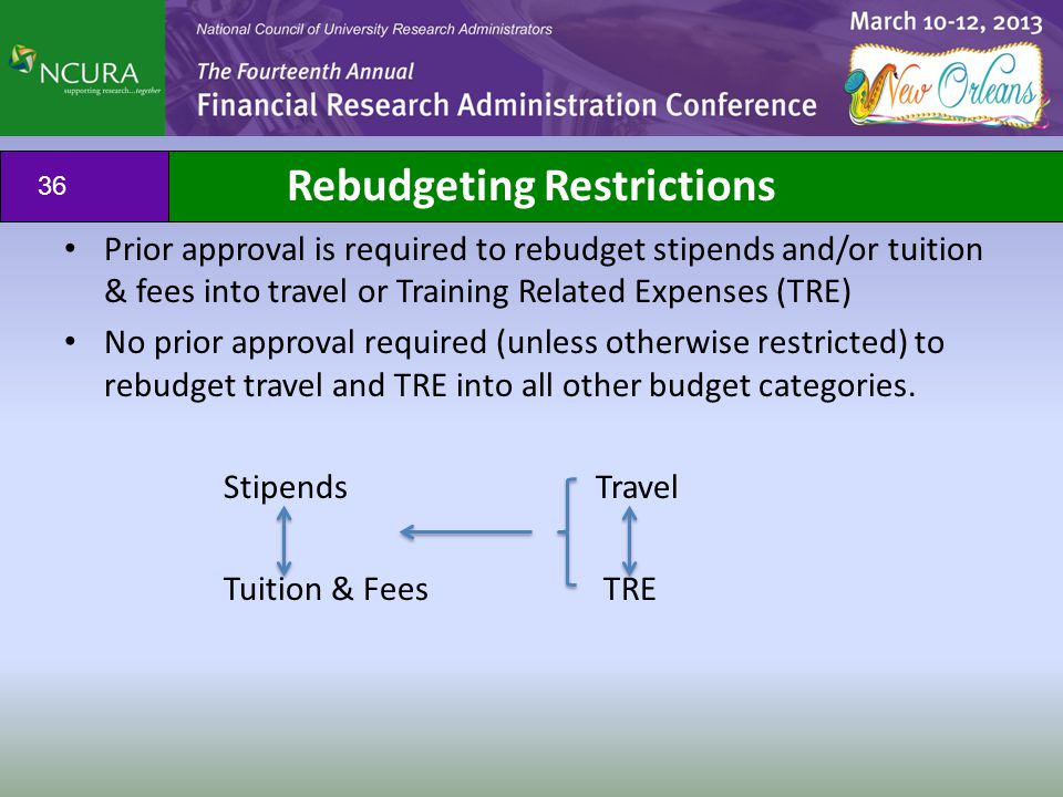 Prior approval is required to rebudget stipends and/or tuition & fees into travel or Training Related Expenses (TRE) No prior approval required (unles