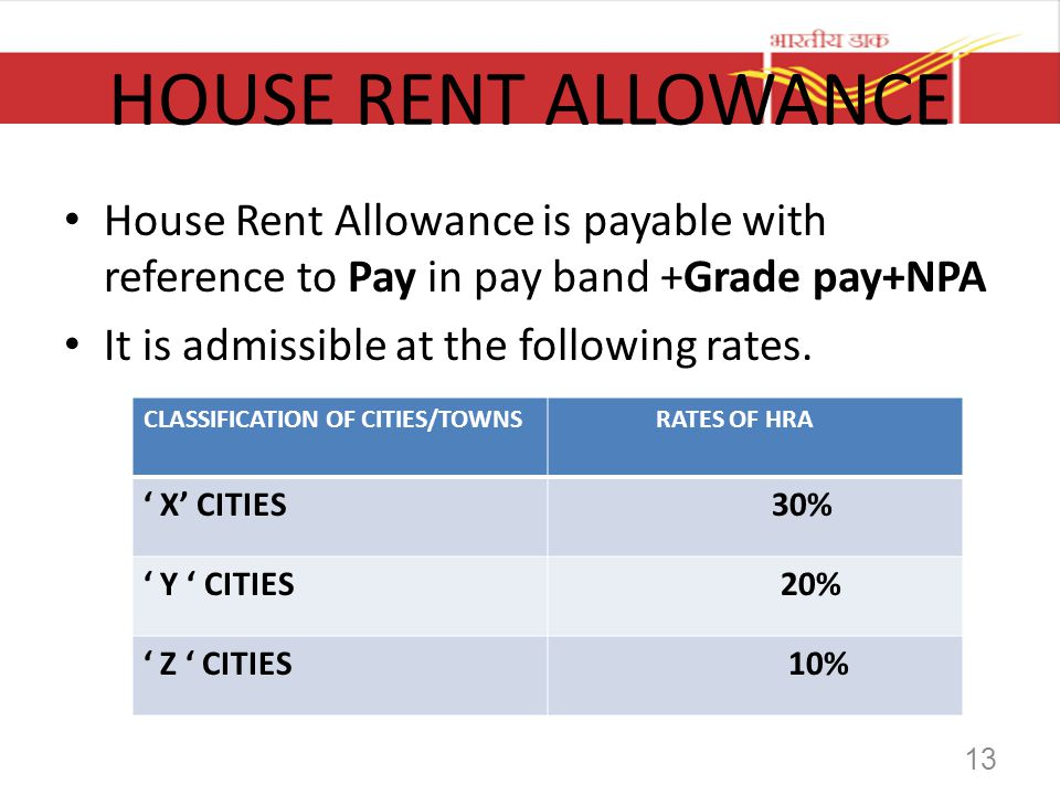 HOUSE RENT ALLOWANCE House Rent Allowance is payable with reference to Pay in pay band +Grade pay+NPA It is admissible at the following rates. CLASSIF