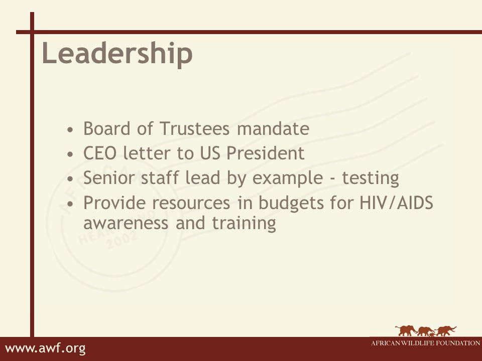 www.awf.org AWF HIV/AIDS Workplace Policy