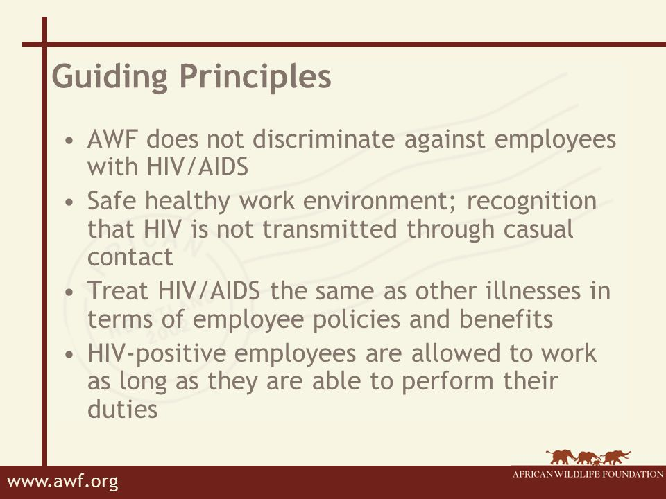 www.awf.org Implementation principals AWF will provide reasonable accommodations for those who are qualified to perform the essential functions of their positions.