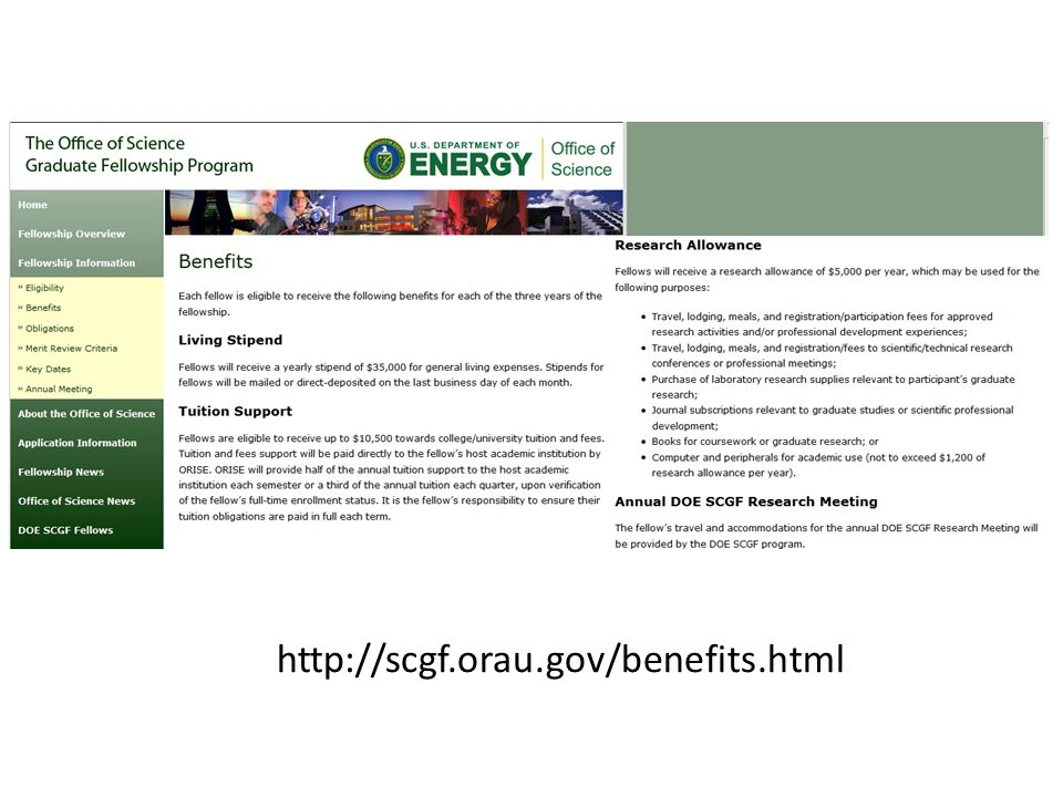 http://scgf.orau.gov/benefits.html