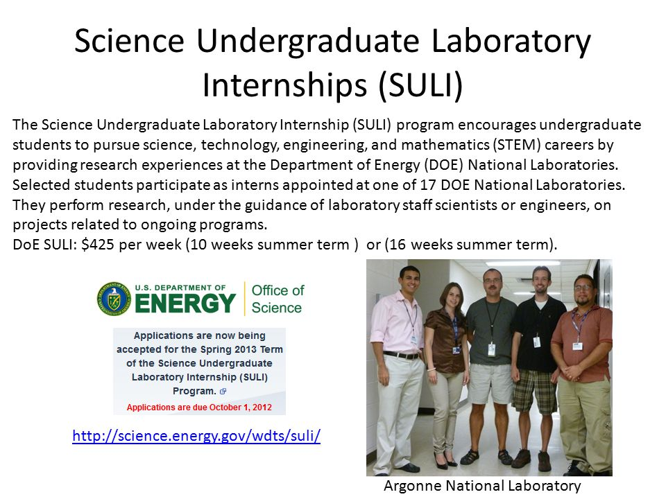 Science Undergraduate Laboratory Internships (SULI) http://science.energy.gov/wdts/suli/ The Science Undergraduate Laboratory Internship (SULI) program encourages undergraduate students to pursue science, technology, engineering, and mathematics (STEM) careers by providing research experiences at the Department of Energy (DOE) National Laboratories.