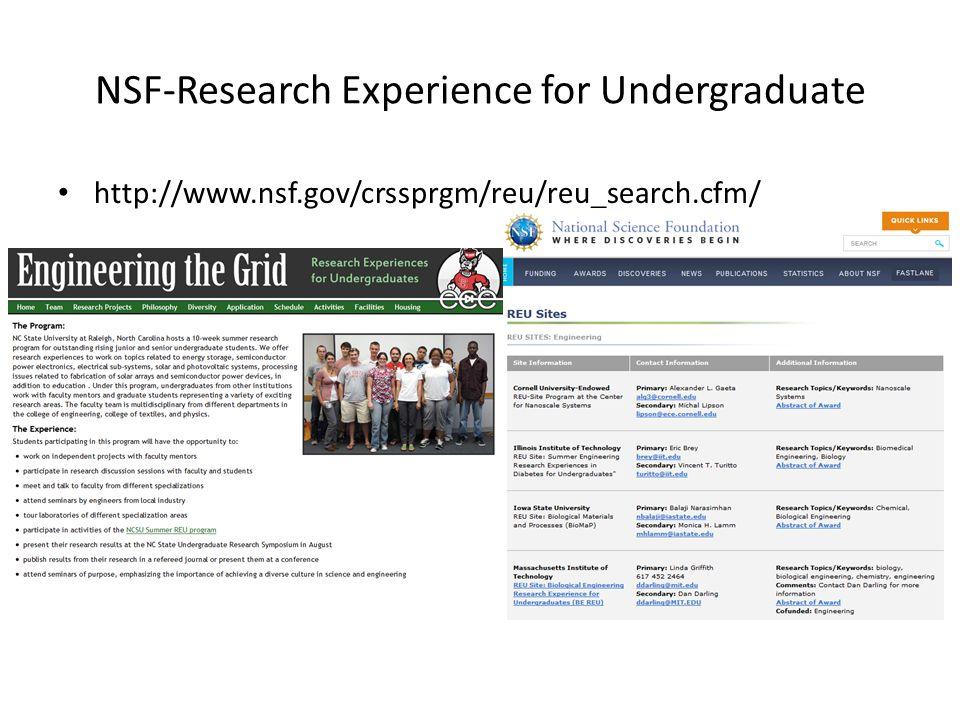 NSF-Research Experience for Undergraduate http://www.nsf.gov/crssprgm/reu/reu_search.cfm/