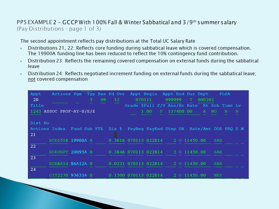 The second appointment reflects pay distributions at the Total UC Salary Rate  Distributions 21, 22: Reflects core funding during sabbatical leave which is covered compensation.