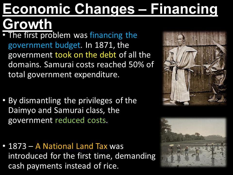 Economic Changes – Financing Growth The first problem was financing the government budget.