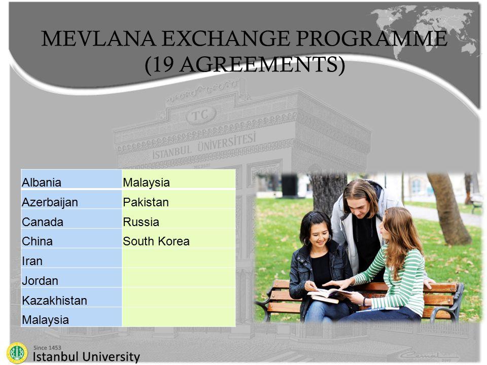 MEVLANA EXCHANGE PROGRAMME (19 AGREEMENTS) AlbaniaMalaysia AzerbaijanPakistan CanadaRussia ChinaSouth Korea Iran Jordan Kazakhistan Malaysia