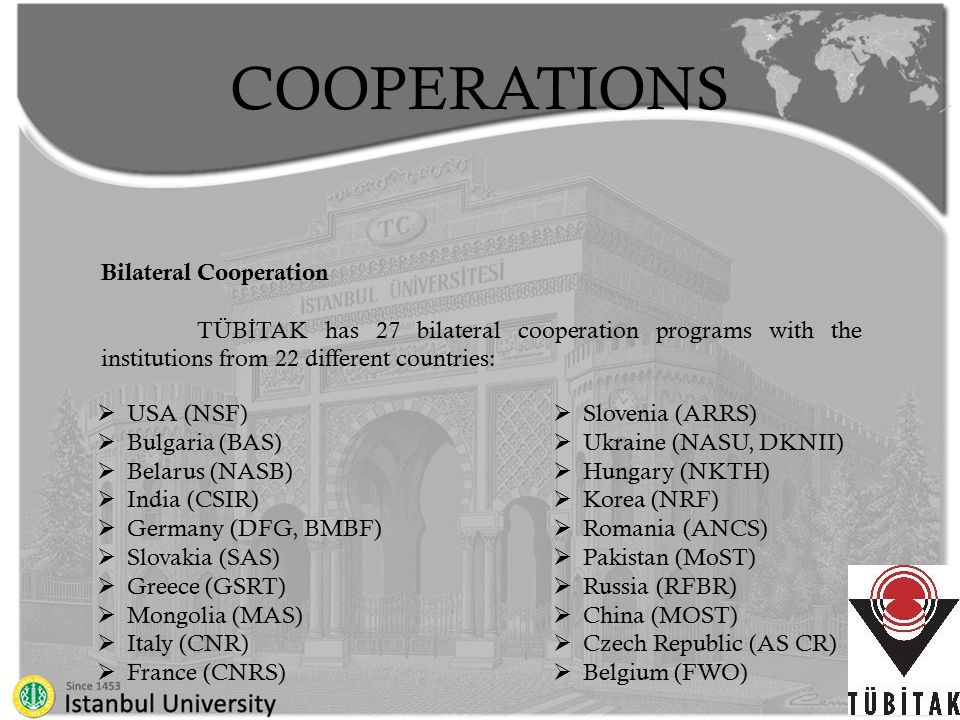 COOPERATIONS Multilateral Cooperation  Our country is actively participating in the activities of a variety of European research programs such as; COST (European Cooperation in the field of Scientific and Technical Research), ESA (European Space Agency), EMBC (European Molecular Biology Conference)  regional organizations such as; Black Sea Economic Cooperation and Economic Cooperation Organization  international organizations like NATO, OECD and UNESCO.