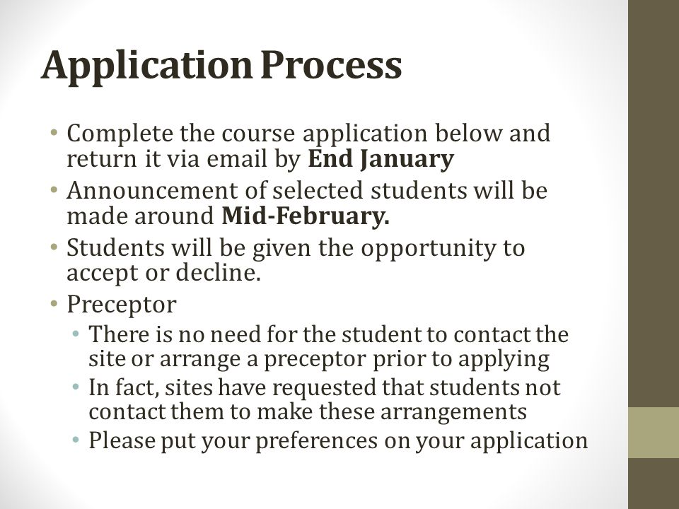 Scholarship This program functions as a scholarship program and all enrollment decisions are made by the course director Program acceptance decisions are based on items in the application