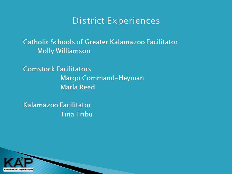  Catholic Schools of Greater Kalamazoo Facilitator Molly Williamson  Comstock Facilitators Margo Command-Heyman Marla Reed  Kalamazoo Facilitator Tina Tribu