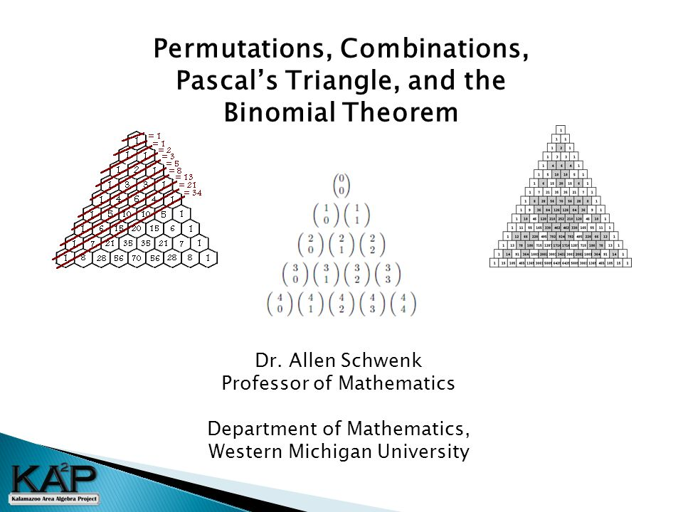 Permutations, Combinations, Pascal's Triangle, and the Binomial Theorem Dr.