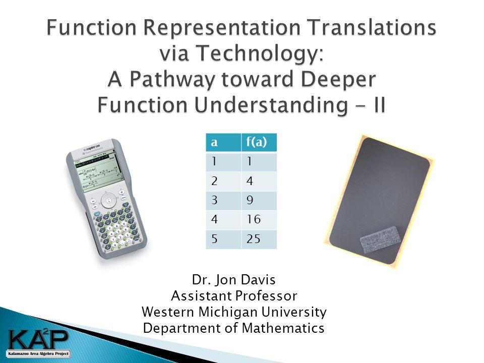 Dr. Jon Davis Assistant Professor Western Michigan University Department of Mathematics af(a) 11 24 39 416 525