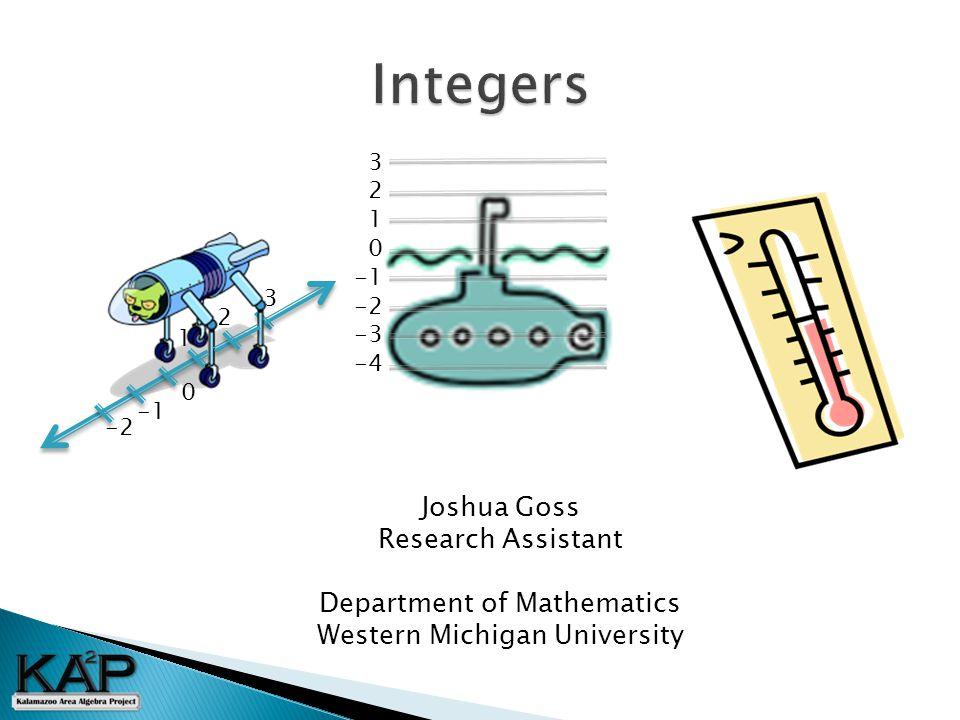 0 -2 1 2 3 3 2 1 0 -2 -3 -4 Joshua Goss Research Assistant Department of Mathematics Western Michigan University