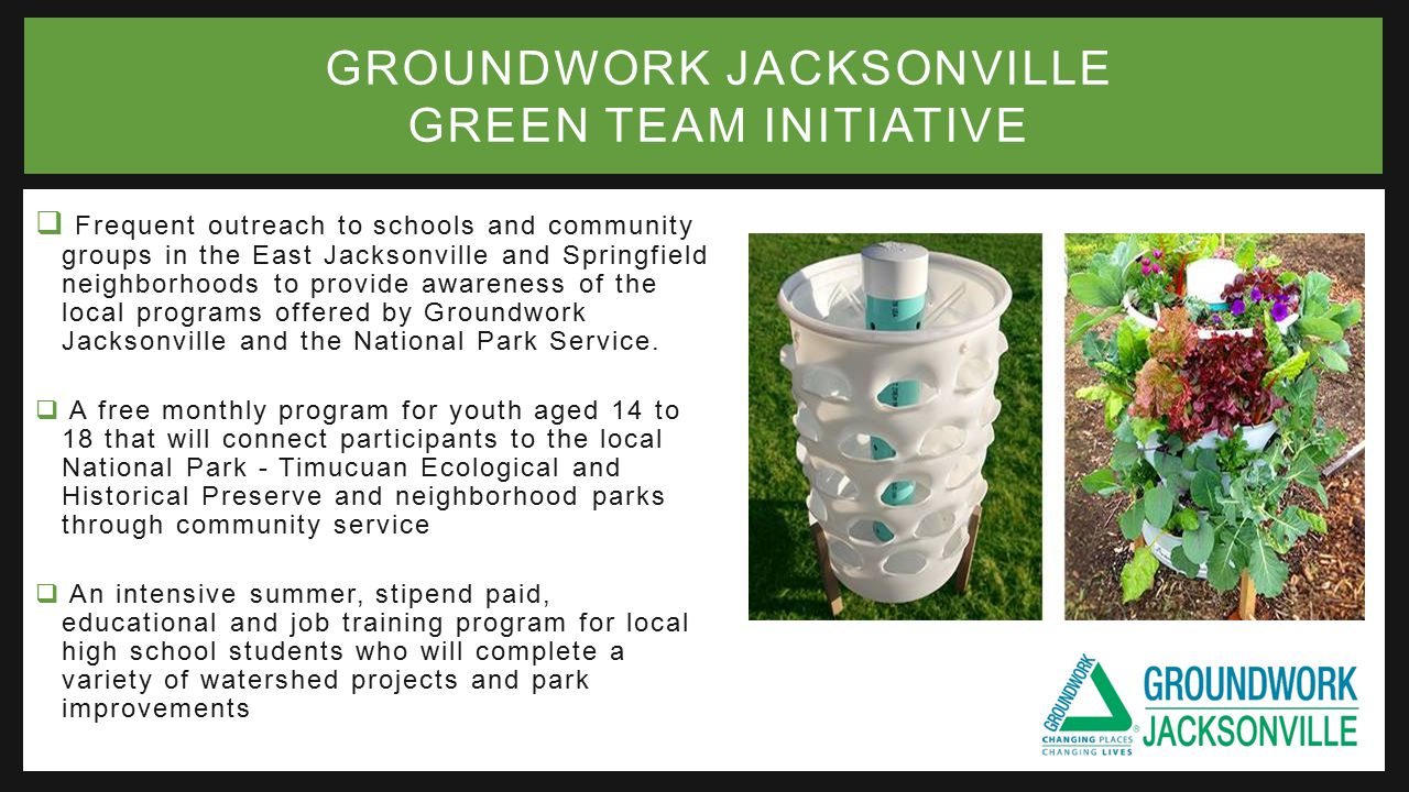  Frequent outreach to schools and community groups in the East Jacksonville and Springfield neighborhoods to provide awareness of the local programs offered by Groundwork Jacksonville and the National Park Service.