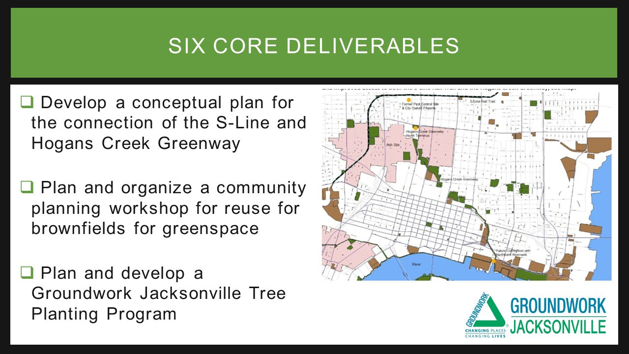  Develop a conceptual plan for the connection of the S-Line and Hogans Creek Greenway  Plan and organize a community planning workshop for reuse for brownfields for greenspace  Plan and develop a Groundwork Jacksonville Tree Planting Program SIX CORE DELIVERABLES